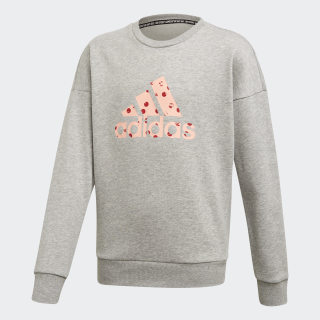 Blusa Moletom Must Haves Badge of Sport Medium Grey Heather / Glow Pink ED4618