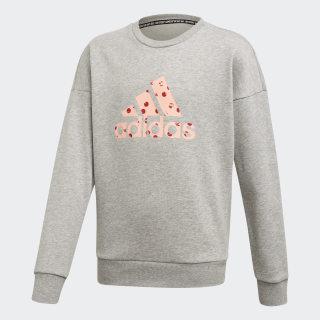 Sudadera Must Haves Badge of Sport medium grey heather/glow pink ED4618