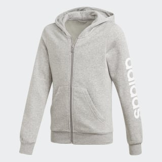 Essentials Linear Full Zip Hoodie Medium Grey Heather / White DV0358