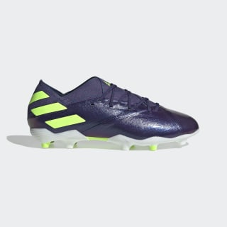 Bota de fútbol Nemeziz Messi 19.1 césped natural seco Tech Indigo / Signal Green / Glory Purple EG7218