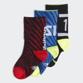 Messi Socks 3 Pairs Black / Collegiate Royal / Solar Yellow / Active Red EC2477