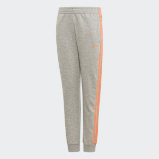 Essentials 3-Streifen Hose Medium Grey Heather / Signal Coral FM6984