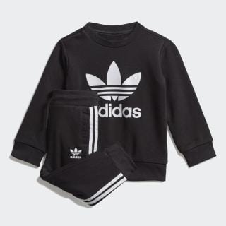 Conjunto Crew Sweatshirt Top:black/white Bottom:BLACK/WHITE ED7679
