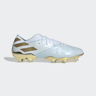 Zapatos de fútbol Nemeziz Messi 19.1 15 Year Terreno Firme Bold Aqua / Gold Metallic / Cloud White EE7849