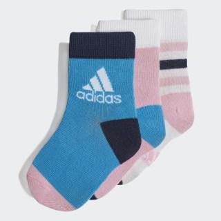 Medias Tobilleras (3 Pares) White / True Pink / Shock Cyan DW4755
