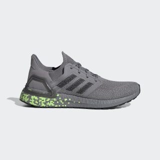 Кроссовки для бега Ultraboost 20 Grey Three / Core Black / Signal Green EG0705