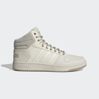 Утепленные кроссовки Hoops 2.0 Mid raw white / raw white / trace khaki f17 EE7372