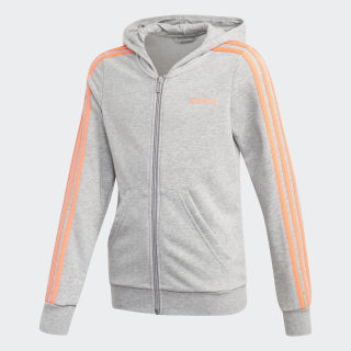 Толстовка Essentials 3-Stripes medium grey heather / signal coral FM6988