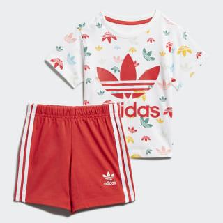 Conjunto pantalón corto y camiseta White / Multicolor / Lush Red FM6727