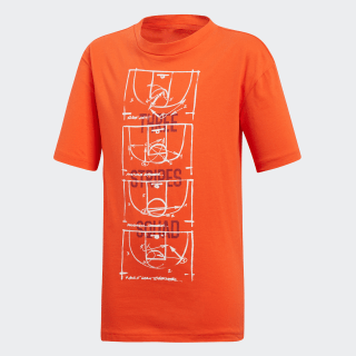 Camiseta YB ID STA TEE active orange / white DV1690