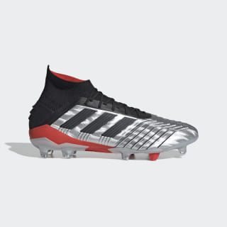 Zapatos de Fútbol Predator 19.1 Terreno Firme Silver Metallic / Core Black / Hi-Res Red F35607