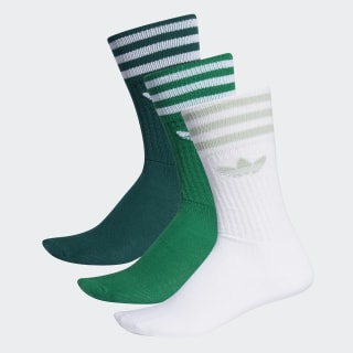 Meia Solid Crew - 3 Pares Noble Green / Bold Green / White ED9362