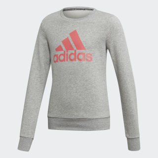 Must Haves Badge of Sport Crew Sweatshirt Medium Grey Heather / Prism Pink DV0323
