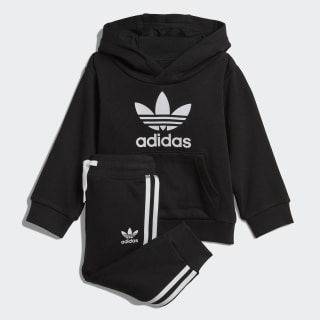 Conjunto sudadera con capucha y pantalón Trefoil Black / White DV2809