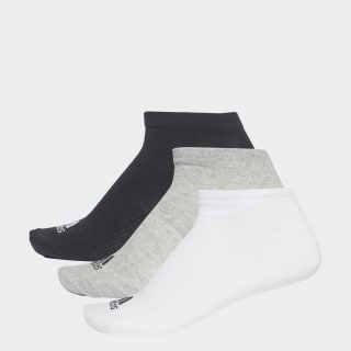 Performance No-Show Thin Çorap, 3 Çift Black / Medium Grey Heather / White AA2313
