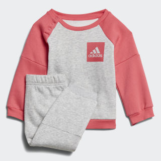 Conjunto Jogger Fleece LIGHT GREY HEATHER/REAL PINK S18 LIGHT GREY HEATHER/REAL PINK S18 CF7382