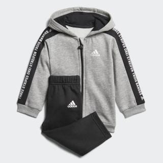 Linear Hooded Fleece joggingdragt Medium Grey Heather / Black / White DJ1546