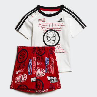 Conjunto Para Niño Jogger Inf Dy Sm Sum Top:white/black/scarlet Bottom:SCARLET/COLLEGIATE ROYAL ED6450