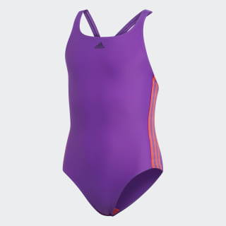 Athly V 3-Stripes Swimsuit Active Purple / Shock Red DQ3321