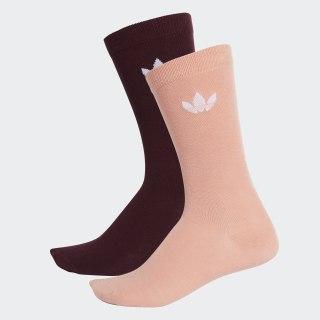 Thin Trefoil Crew Socks 2 Pairs Maroon / White / Dust Pink DV1730