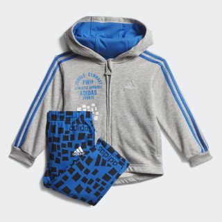 Conjunto Graphic Hooded Jogger Top:medium grey heather/blue Bottom:BLUE/BLACK ED1146