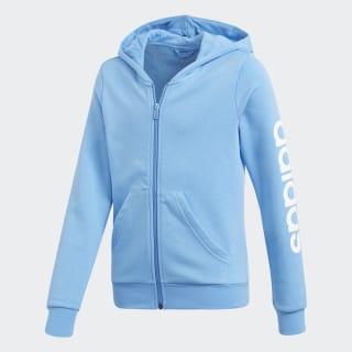 Blusa Capuz Linear Essentials Lucky Blue / White DV0359