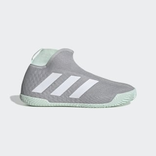 Stycon Laceless Hard Court Shoes Grey Two / Cloud White / Dash Green EG2211