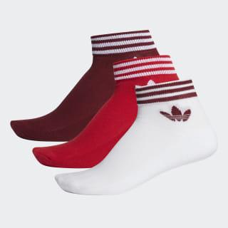 Trefoil Ankle Socks 3 Pairs Collegiate Burgundy / Scarlet / White EE1153