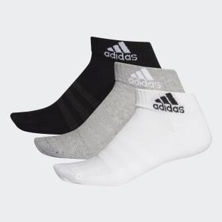 Cushioned Ankle Socks 3 Pairs Medium Grey Heather / White / Black DZ9364