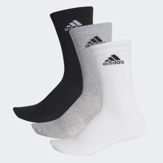 Performance Thin Crew Socks 3 Pairs Black / Medium Grey Heather / White AA2331