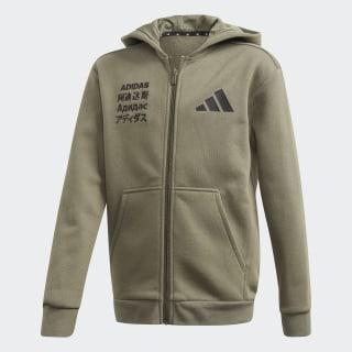adidas Athletics Pack Fleece Kapuzenjacke Legacy Green / Yellow Tint / Black FM0201