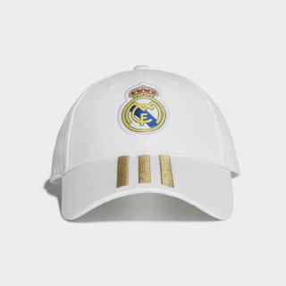 Real Madrid 3-Streifen Kappe White / Dark Football Gold DY7720