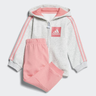 Buzo Jogger 3 Tiras Fleece LIGHT GREY HEATHER/CHALK PINK S18/REAL PINK S18 CHALK PINK S18/REAL PINK S18 CF7390