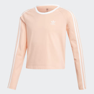 3-Stripes Cropped Long-Sleeve Top Glow Pink / White ED7792