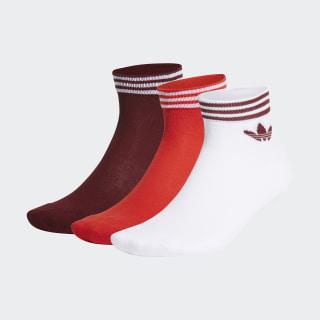 Trefoil Ankle Socks 3 Pairs White / Red / Collegiate Burgundy FM0644