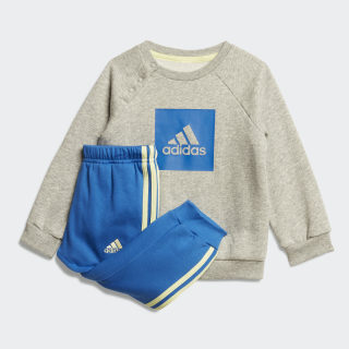 3-Stripes Fleece joggingdragt Medium Grey Heather / Blue FM6392