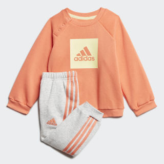 Флисовый комплект: джемпер и брюки 3-Stripes Semi Coral / Yellow Tint FM6394