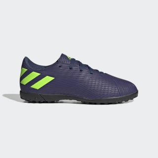 Zapatilla de fútbol Nemeziz Messi 19.4 moqueta Tech Indigo / Signal Green / Glory Purple EF1818
