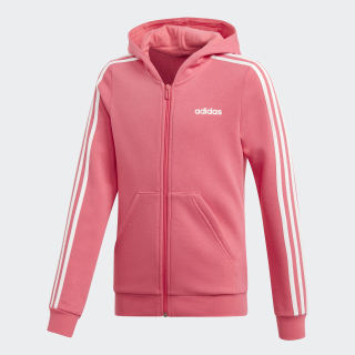 Campera con Capucha 3 Tiras Real Pink / White EH6118
