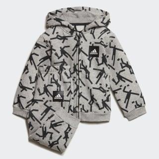 Conjunto Mini Me ID Hooded Medium Grey Heather / Black ED1177