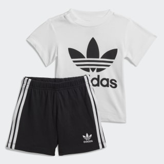 Trefoil Shorts and Tee Set White / Black FI8318