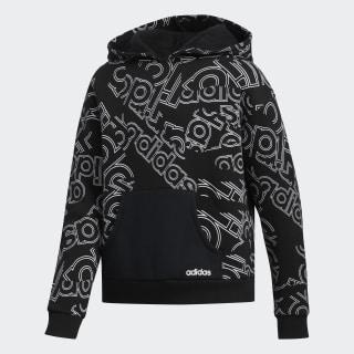 Linear Print Hoodie Black CM0432