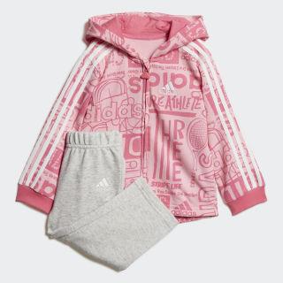 Флисовый комплект: толстовка и брюки Graphic light pink / semi solar pink / white DV1245