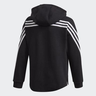 Genç Sportswear Siyah 3 Bantlı Tam Boy Fermuarlı Kapüşonlu Üst