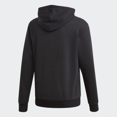Sudadera con Gorro Essentials 3 Franjas Negro Hombre Diseño Deportivo