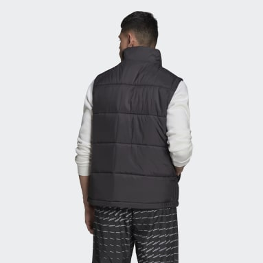 Men Originals Black Padded Stand-Up Collar Puffer Vest