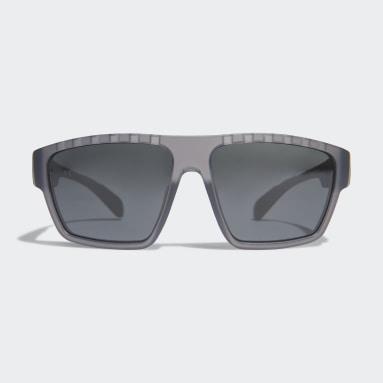 Running Grey SP0008 Shiny Black Injected Sport Sunglasses