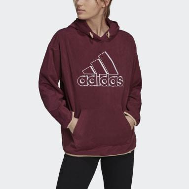 Sudadera con capucha Brand Love Giant Logo Polar Fleece Burgundy Mujer Sportswear
