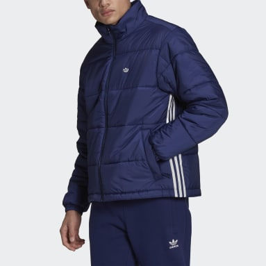 Men's Originals Blue Padded Stand-Up Collar Puffy Jacket