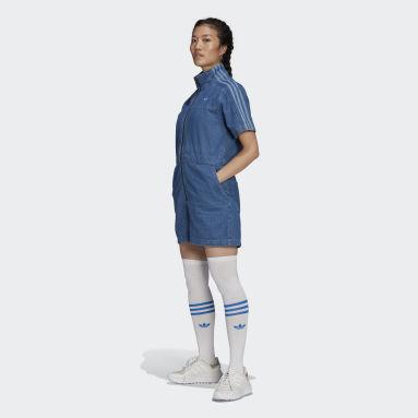 ผู้หญิง Originals สีน้ำเงิน ชุดจัมพ์สูทเดนิม Adicolor